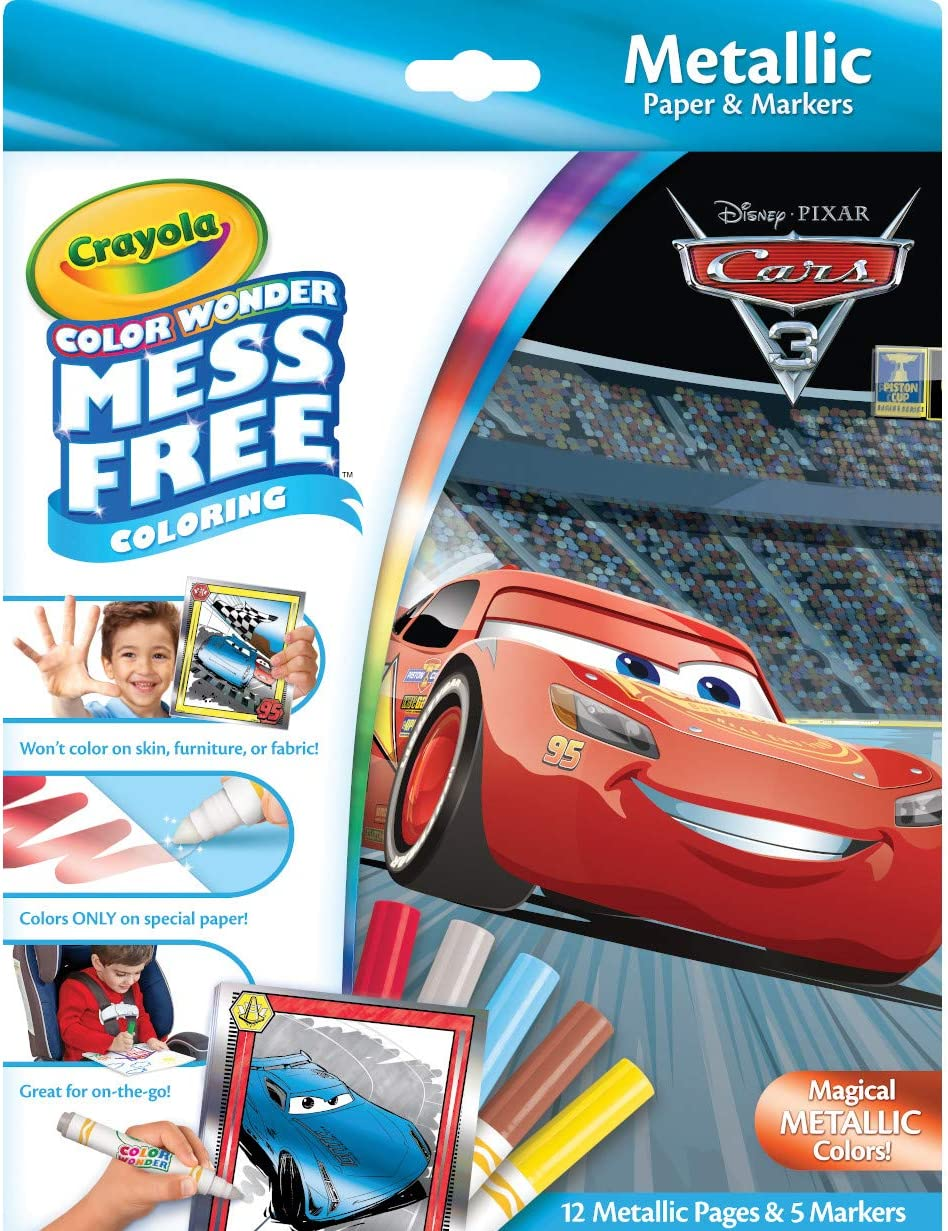Crayola Color Wonder Cars 3, Mess Free Coloring, 12 Pages