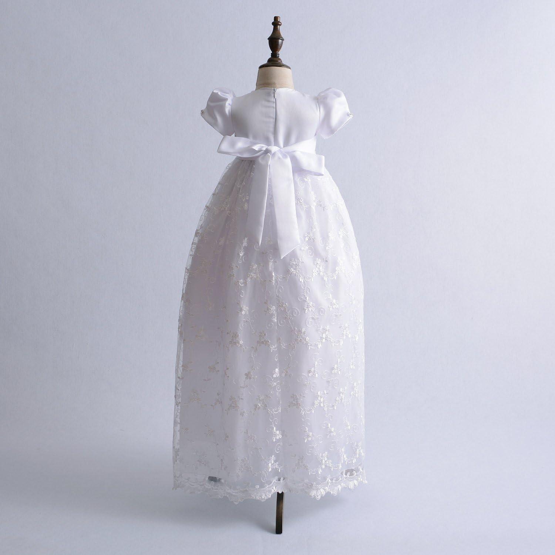 Cinda Vestido de Bautizo Largo de Encaje de beb/é con bonete