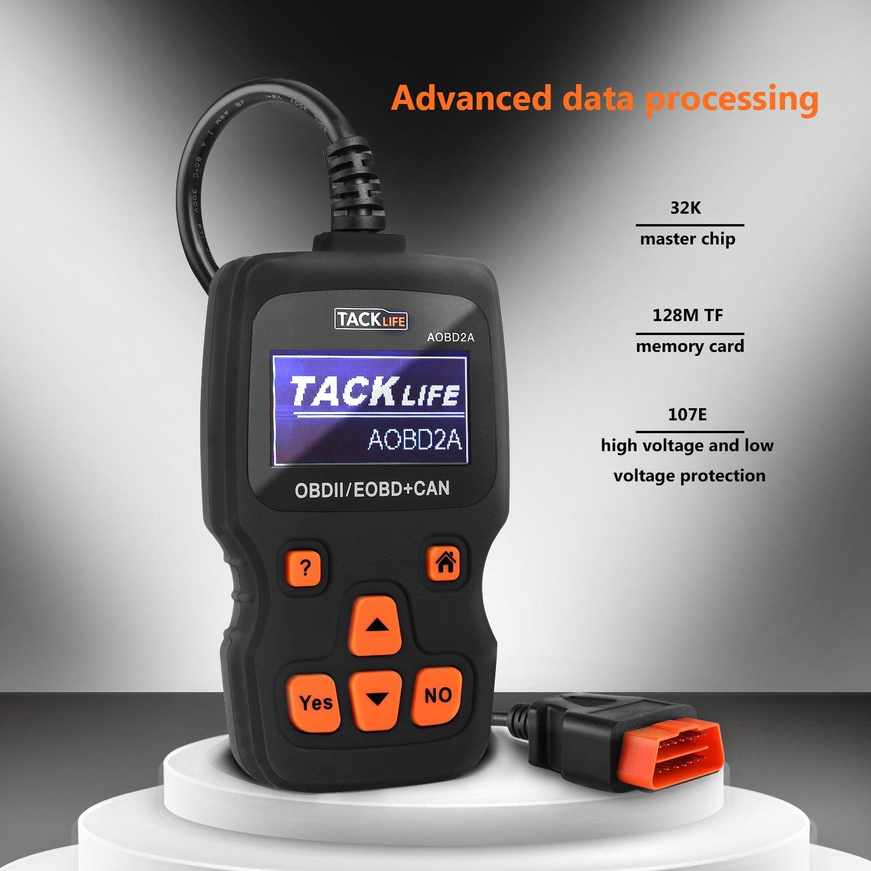 TACKLIFE OBD2/scanner motore guasto codice diagnostico tester AOBD2/A diagnostico strumento di scansione in tempo reale AOBD2/A auto lettore di codice diagnostico