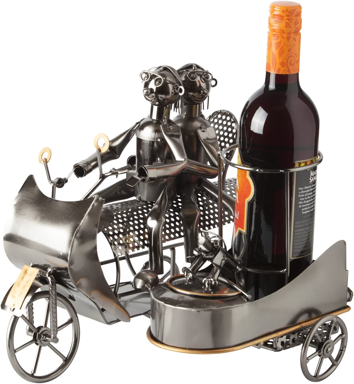 "BRUBAKER Wine Bottle Holder Statue""Couple on Motorbike with Dog in Sidecar"" Sculptures and Figurines Decor & Vintage Wine Racks and Stands Gifts Decoration"