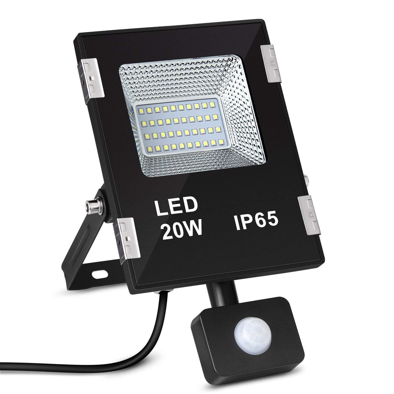 amzdeal - Foco LED, 20 W exterior con detector de movimiento, foco LED resistente al agua IP65, luz blanca fría 5700 - 7100 K, Exterior 2000lumen, ...