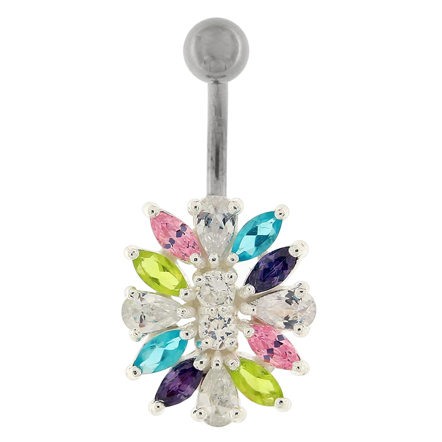 Multi Colored CZ Stone Fancy Combinated Flower 925 Sterling Silver Belly Button Ring