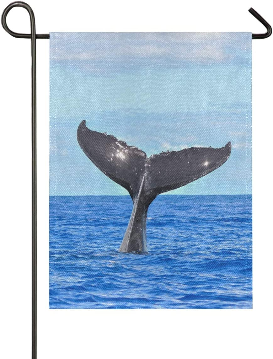 BEETTY Garden Flag Ocean Whale Imitation Linen Vertical Double Sided 28 x 40 Inch House Home Yard Flag for Outdoor Decor