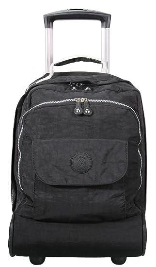 Porlik Mochila escolar con ruedas de 17 pulgadas, multifunción, bolsa de libros para niñas y niños, color negro: Amazon.es: Deportes y aire libre
