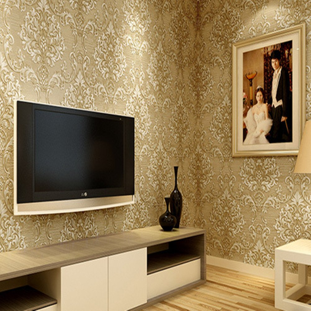 Luxury Decorative Pattern Dark Gold Wallpaper (20.5 inches Wide) by Wallpaper (Image #3)