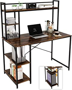 Nost & Host Computer Desk with Hutch & Bookshelf, Home Office Working Table with Hutch & 2 Tier Adjustable Shelves, Sturdy Wooden Desk for Vanity Study Gaming, Easy Assemble, 47.2 inches, Rustic Brown
