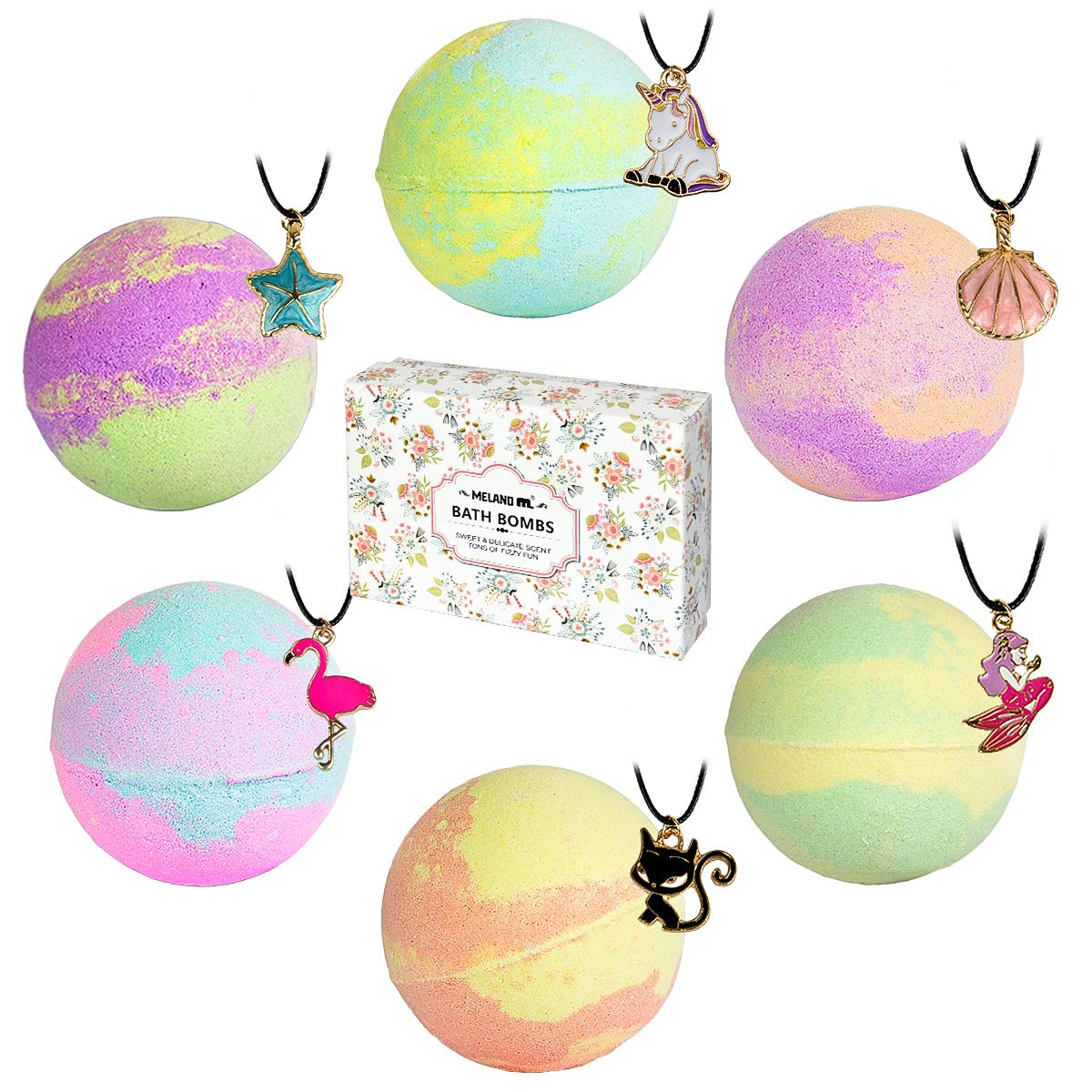 Bath Bombs with Surprise Necklaces – 6 * 5.5 oz Bubble Bath Fizzies for Kids Unicorn Bath Bombs Gift Set for Women Girls Birthday Christmas Anniversary Meland