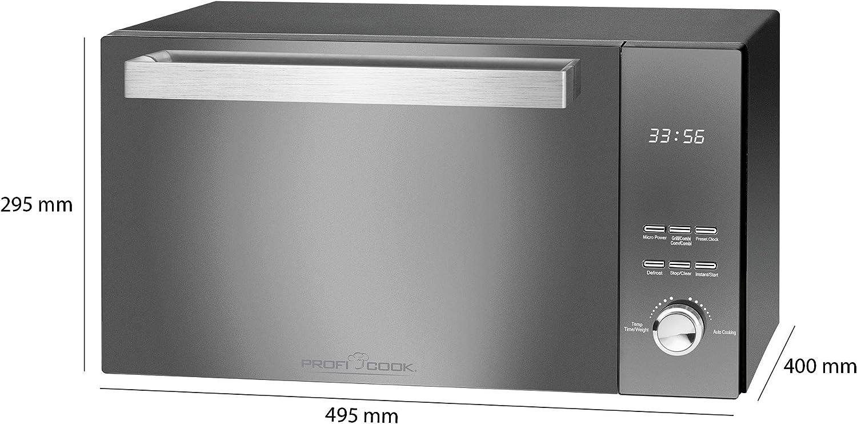 800 Watt Mikrowellenleistung doppelverglaste Vertikal- T/ür mit hochwertigem Edelstahlgriff 1000 Watt Grillleistung ProfiCook PC-MWG 1204 Mikrowelle mit Grill 23 Liter Garraum
