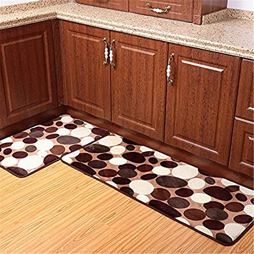 2-Piece Set of Coral Fleece Memory Foam Bathroom Rug Set Washable Kitchen Rug Non-Slip Absorbent Coral velvet Floor Runner Mats 50cmx80cm 50cmx120cm Stone Big