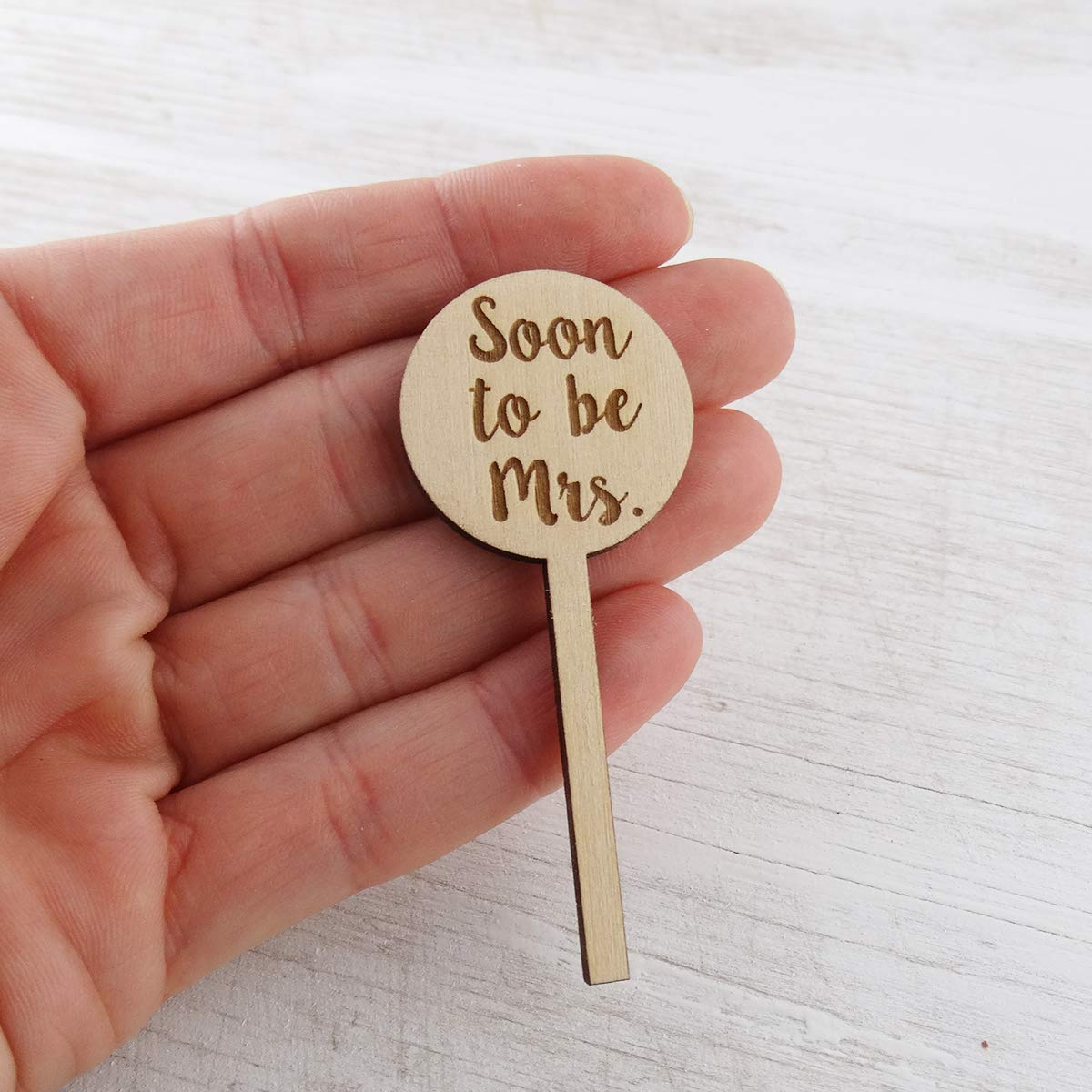 Cupcake Toppers Wedding Bridal Shower Party Decor Engraved Wood Set of 12 Soon to be Mrs