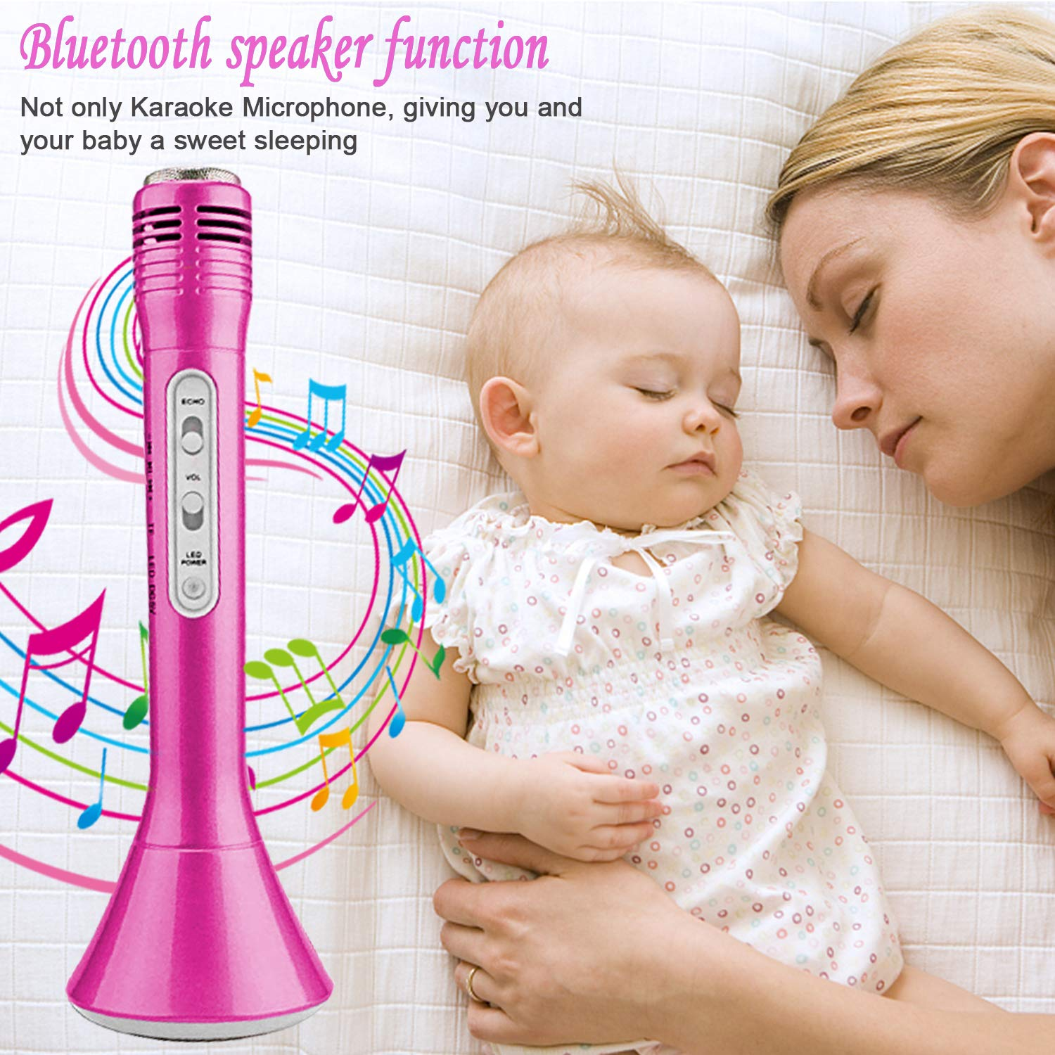 Kids Wireless Karaoke Microphone with Speaker Colorful LED Light for Girls Boys Toddlers Portable Handheld Bluetooth Music Toys for Singing Music Playing Party KTV Support iOS Android Birthday Gifts by iGeeKid (Image #2)