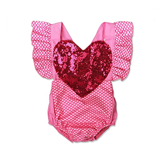 f39961621 Amazon.com  Baby Girl Valentine s Day Birthday Outfit Sequin Heart ...