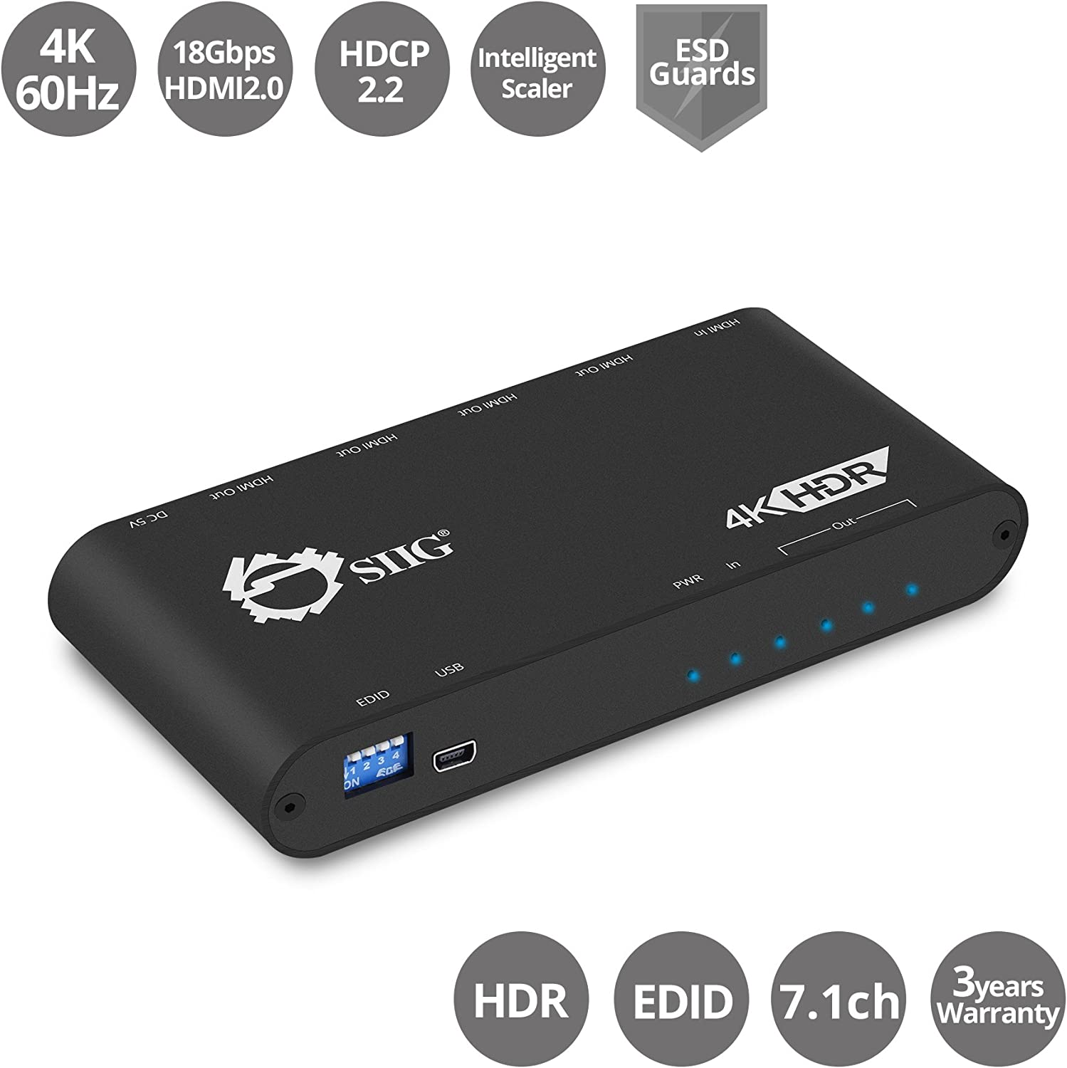 SIIG 1x4 HDMI 4K @60Hz HDR Splitter w/EDID Management | YUV 4:4:4 8-bit | YUV 4:2:0 10bit | HDMI 2.0, HDCP 2.2, 18Gbps | Auto Scaling, Low Heat, Cascadable, Firmware Upgradable | 4 Port, 1 in 4 Out