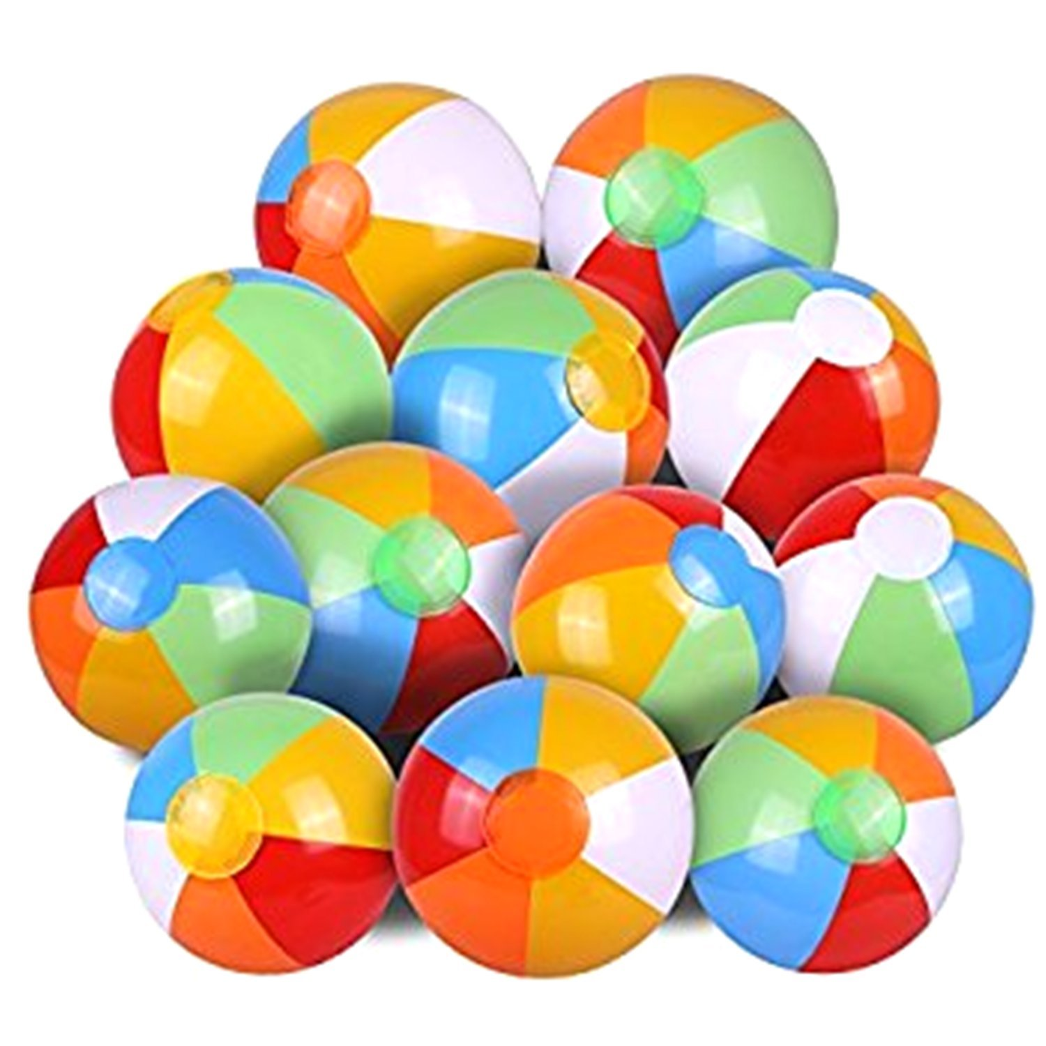 JEWELS FASHION (1DOZEN)12''Inflatable Beach Ball-Ideal for Poolside,Decoration,Concerts,Lakes,Beach,BBQ,Camping,Park,Party-Can Be Inflated Via Mouth,Hand Pump, Pressure Pump, etc