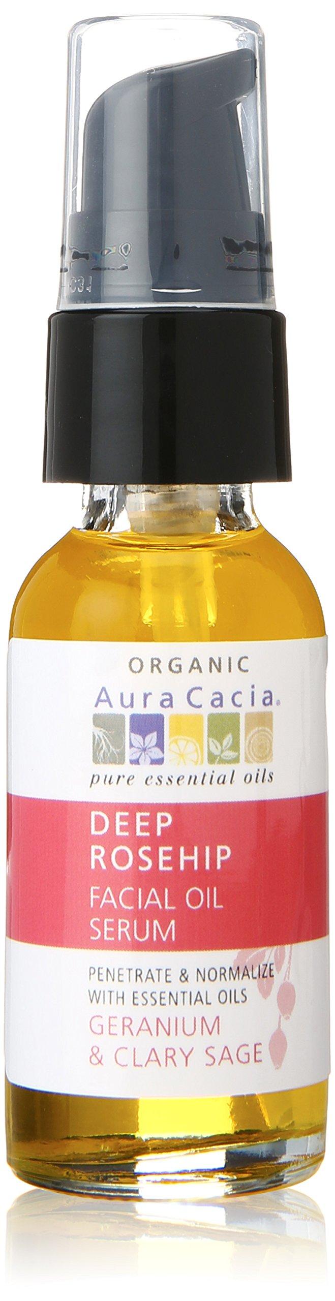 Aura Cacia Deep Rosehip Facial Oil Serum, 1 Fluid Ounce
