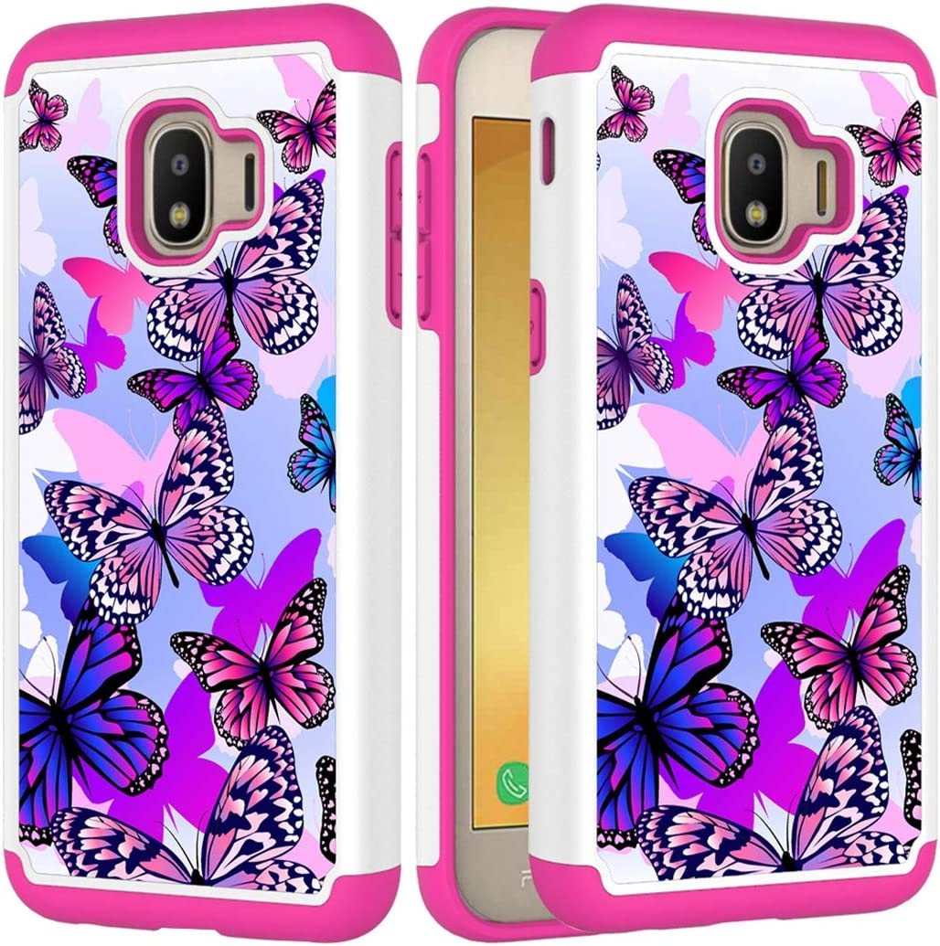 Yerebel Case for Samsung Galaxy J2 Core/J2 2019/J2 Pure/J2 Dash/J2 Shine Cute Case for Girls, Shockproof Defender Heavy Duty Phone Cover Cases for Samsung Galaxy J260 (Butterfly)