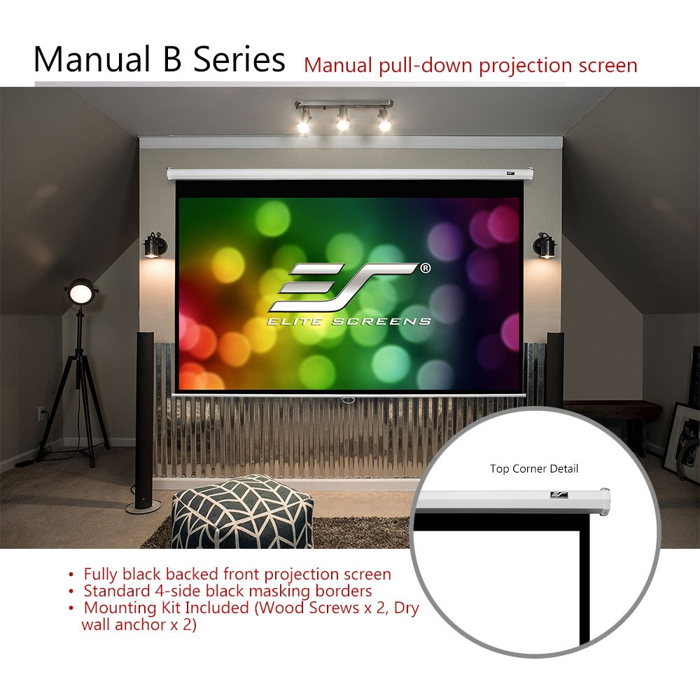 Pull Down Manual Projector Screen with AUTO LOCK M150XWH2 150-INCH ...
