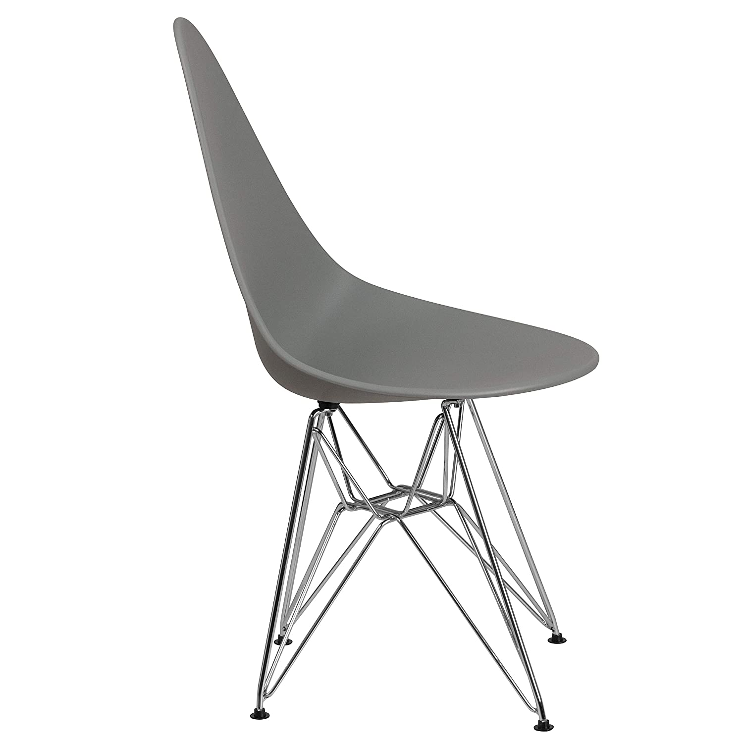 Allegra Series Teardrop Gray Plastic Chair with Chrome Base 2-FH-251-CPP-GY-GG Flash Furniture 2 Pk