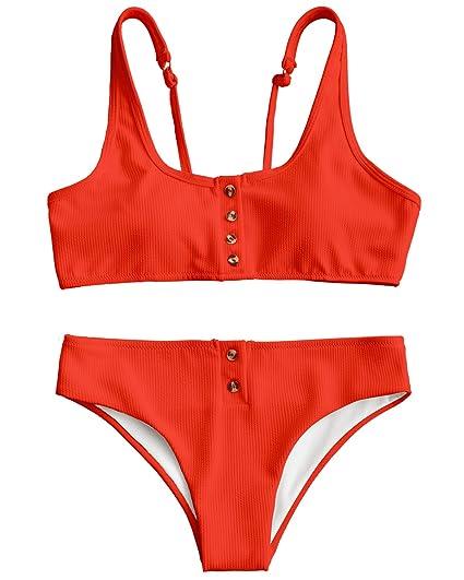 3cc160c3efa5c9 ZAFUL Women s Scoop Neck Ribbed Padded Button up Two Piece Bikini Set