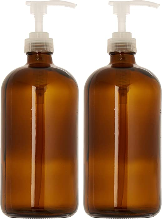 kitchentoolz 32 Ounce Large Amber Glass Boston Round Bottles w/Natural Color Pumps. Great for Lotions, Soaps, Laundry Detergent and Essential Oils - Food Safe and Medical Grade (Pack of 2)