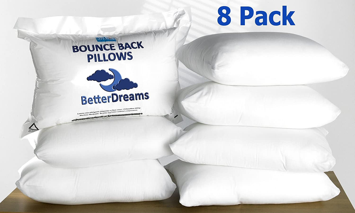Bounce Back Pillows 8 Pack Quality Hollow Fibre Filling Free Uk Delivery by Amazon
