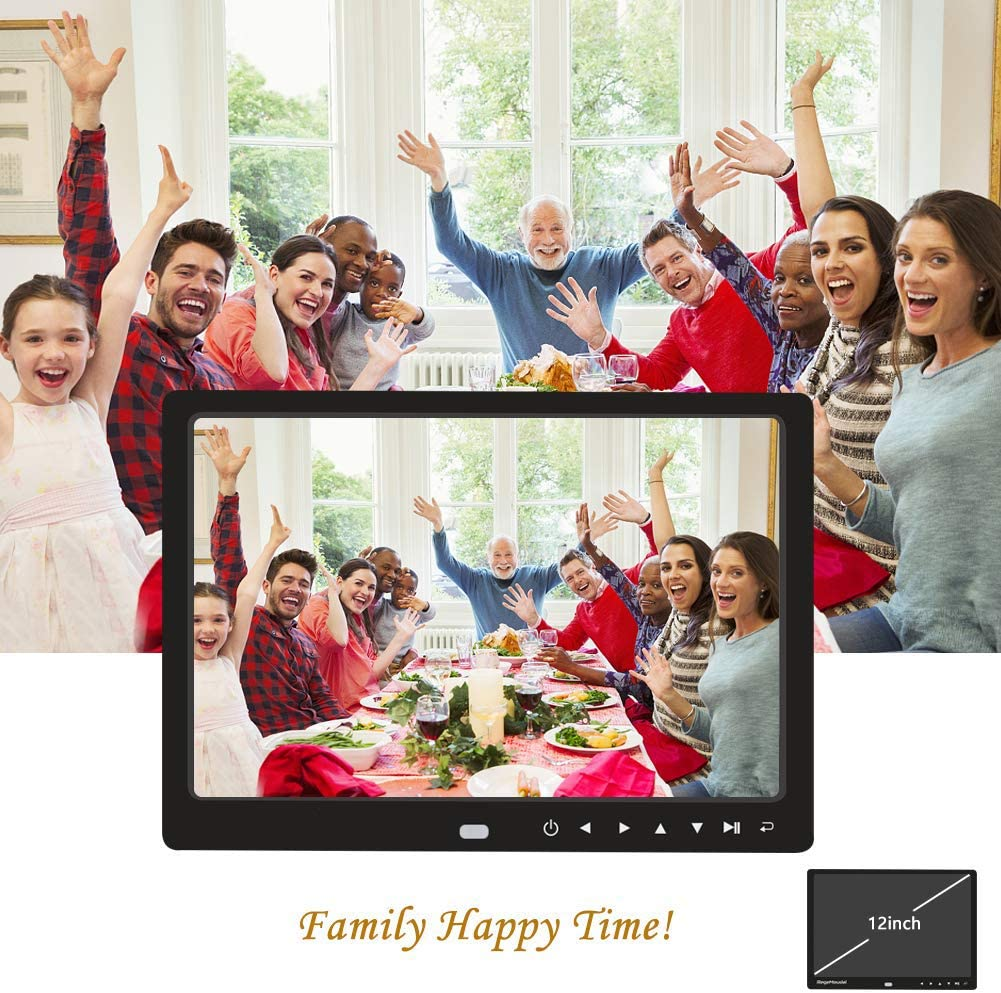 RONSHIN 12 Inch 1080P HD Digital Photo Frame with Remote Control Support 32G SD and USB for Pictures and Videos Black EU Plug
