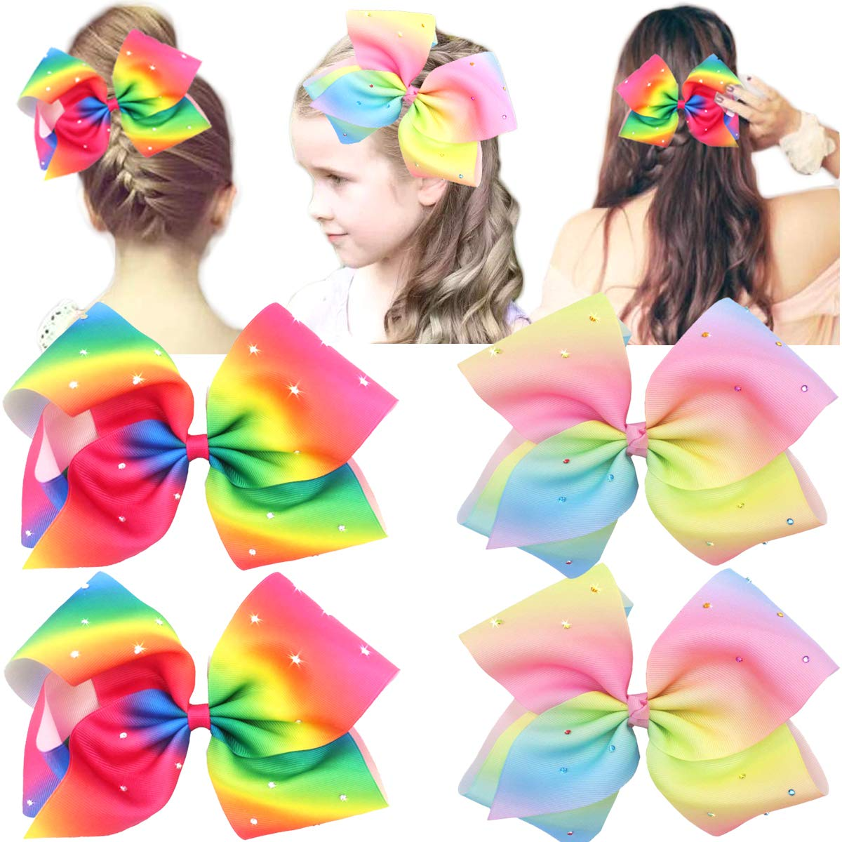 Girls Bows Alligator Clip Hand Tied Bow Cute Bows 345 inches Glittery Bows A Pair of Glittery Bow
