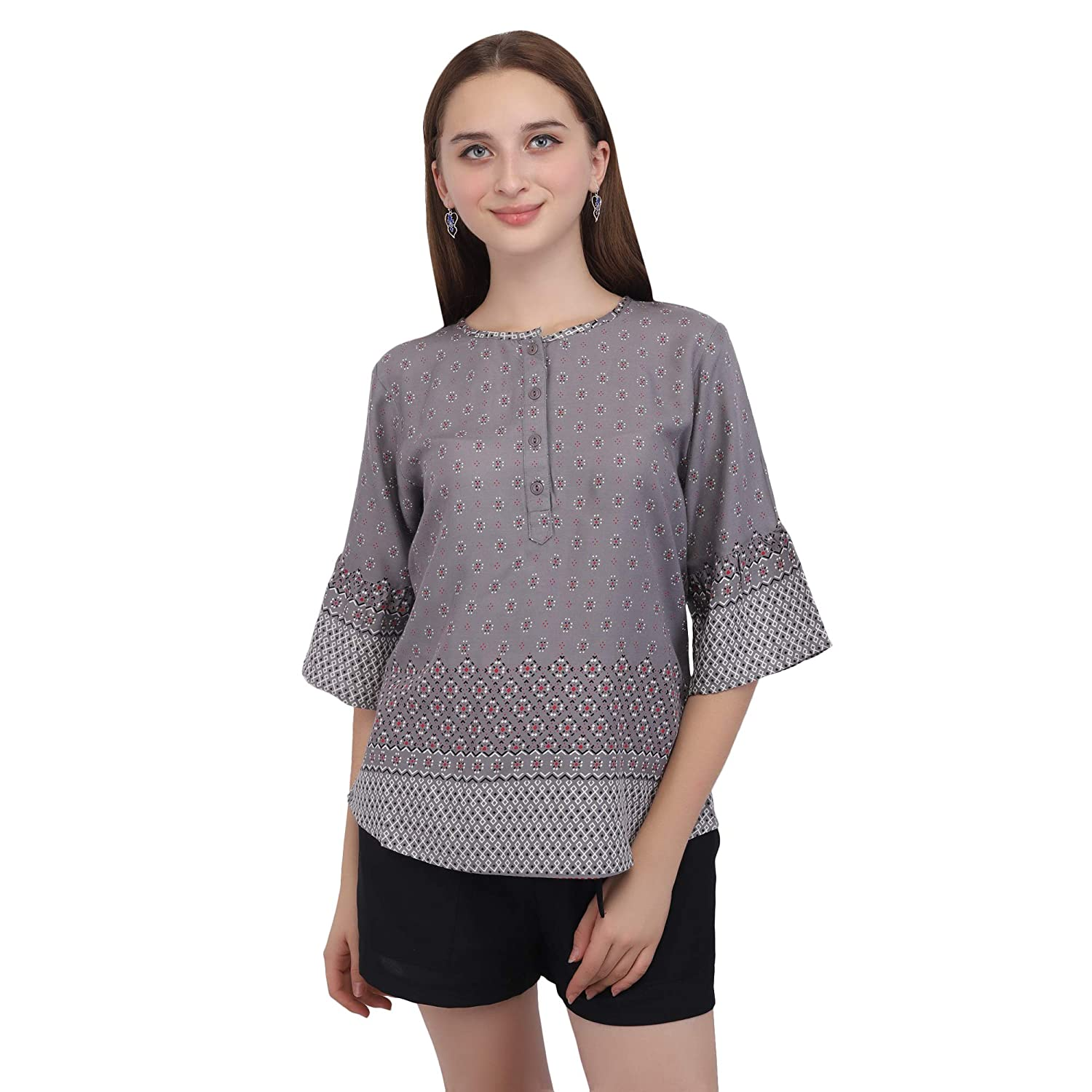 fb943bc58f6 Kushaas Girls Designer Top Grey with Unique Design/Daily wear ...