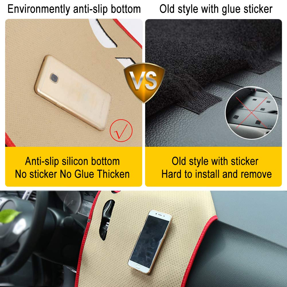 Clidr Dashboard Cover Dash Cover Mat Pad DashMat for 1998-2010 Volkswagen Beetle Black Edge