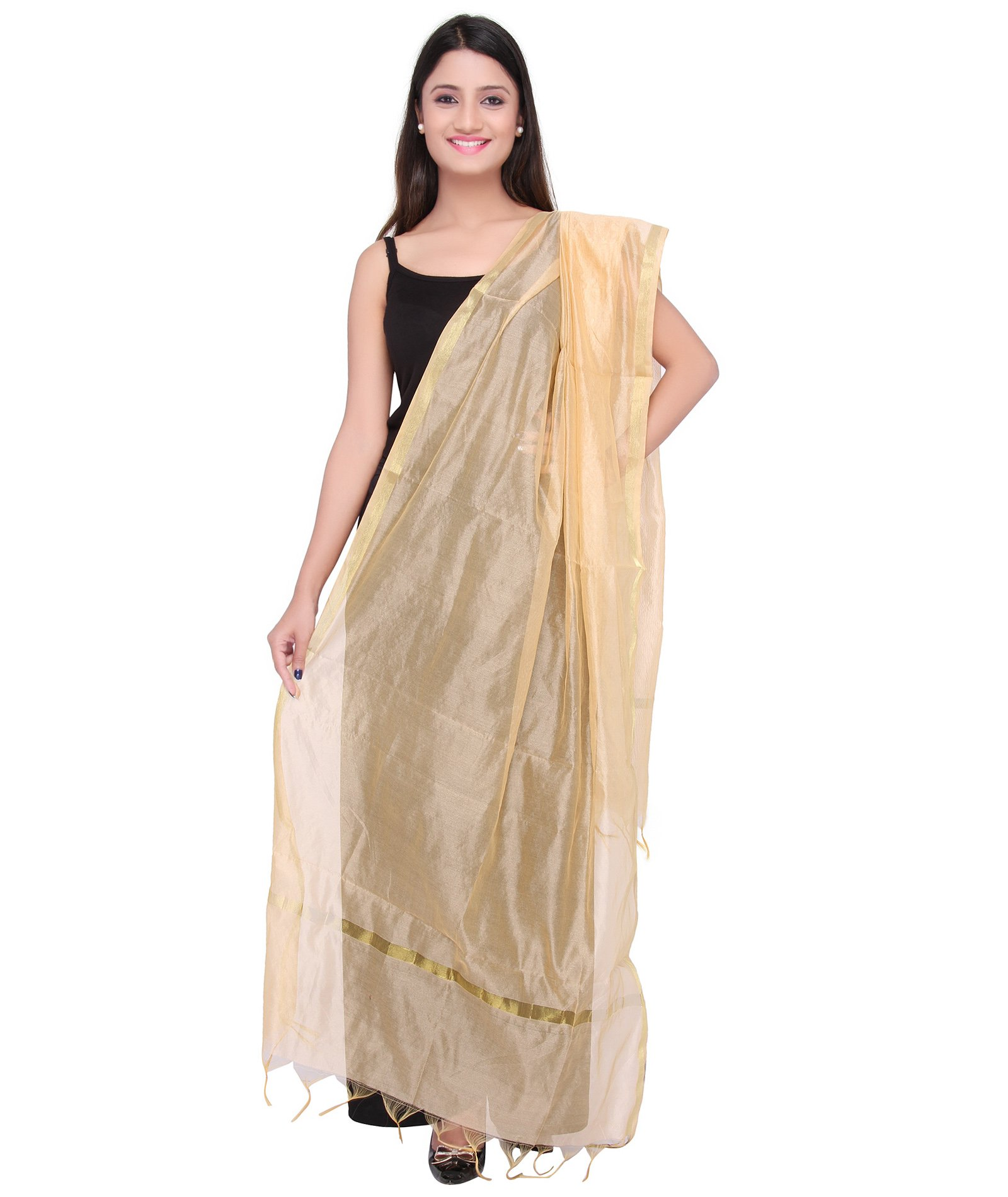 Dupatta Bazaar Indian Plain Beige Silk Dupatta ,Stole, Scarf, Chunni for Woman