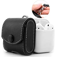 AE Mobile Accessories Apple AirPods Case, Snap Closure Protective Cover Carrying Pouch Pocket, with Holding Strap, for Apple AirPods Charging Case (Moko, Brown)