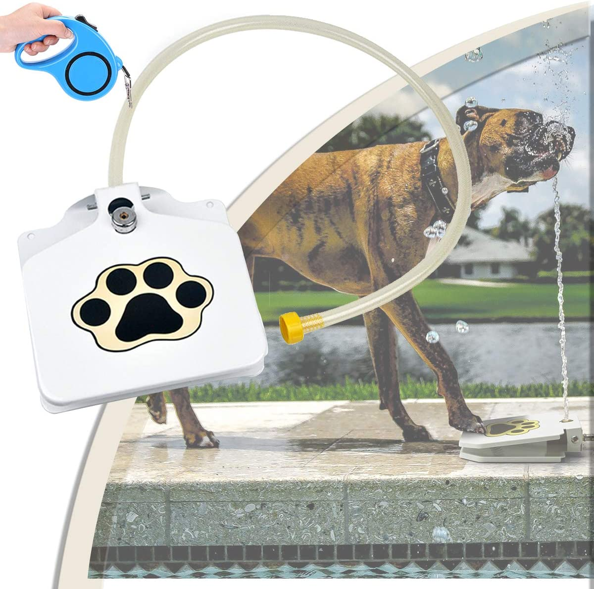 EnweGey Fuente del Perro Autom, Bebedero Perro Grande de Acero Inoxidable con Manguera & Cuerda de Remolque, Fácil de Aprender Bebedero Jardín Fuente de Pedal para Perros Chill out