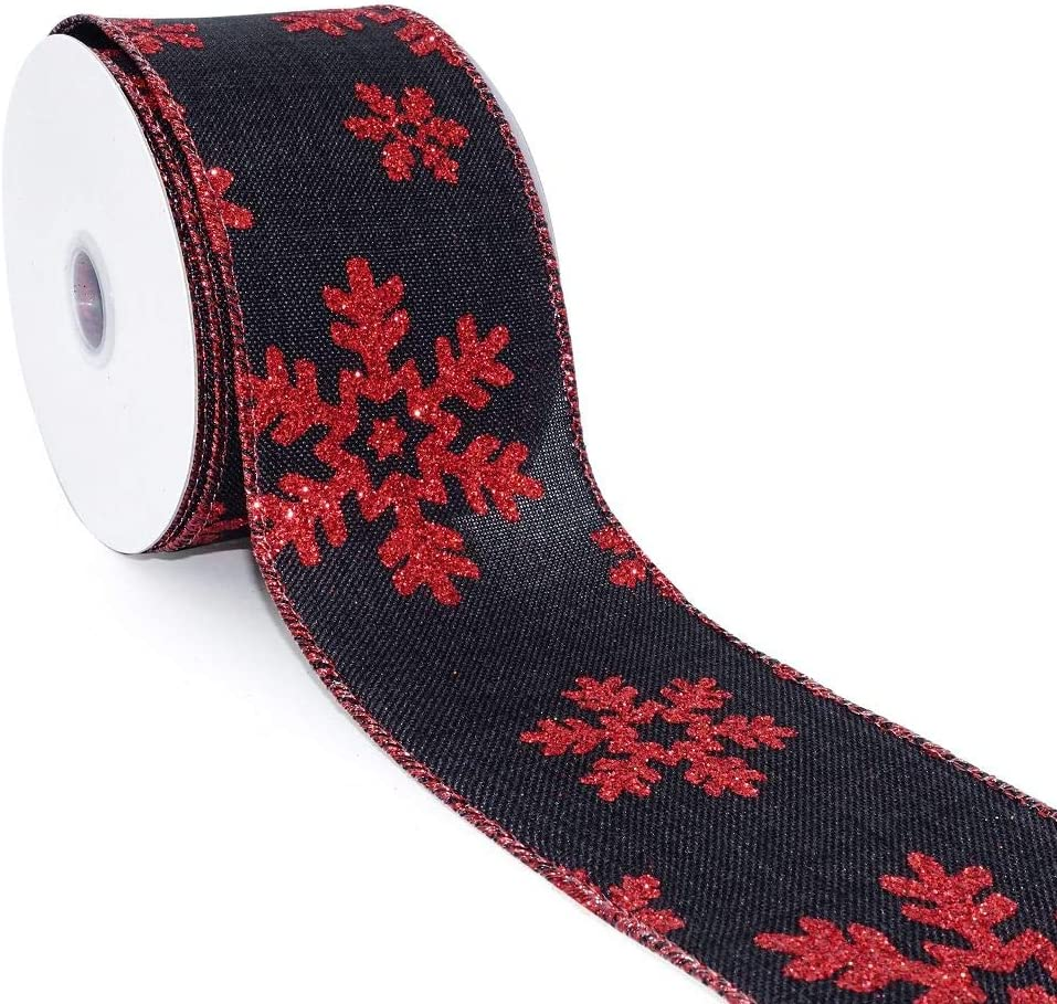 """CT CRAFT LLC Faux Jute Snowflakes Christmas Wired Ribbon for Home Decor, Gift Wrapping, DIY Crafts, 2.5"""" x 10 Yards x 1 Roll - Black with Red"""