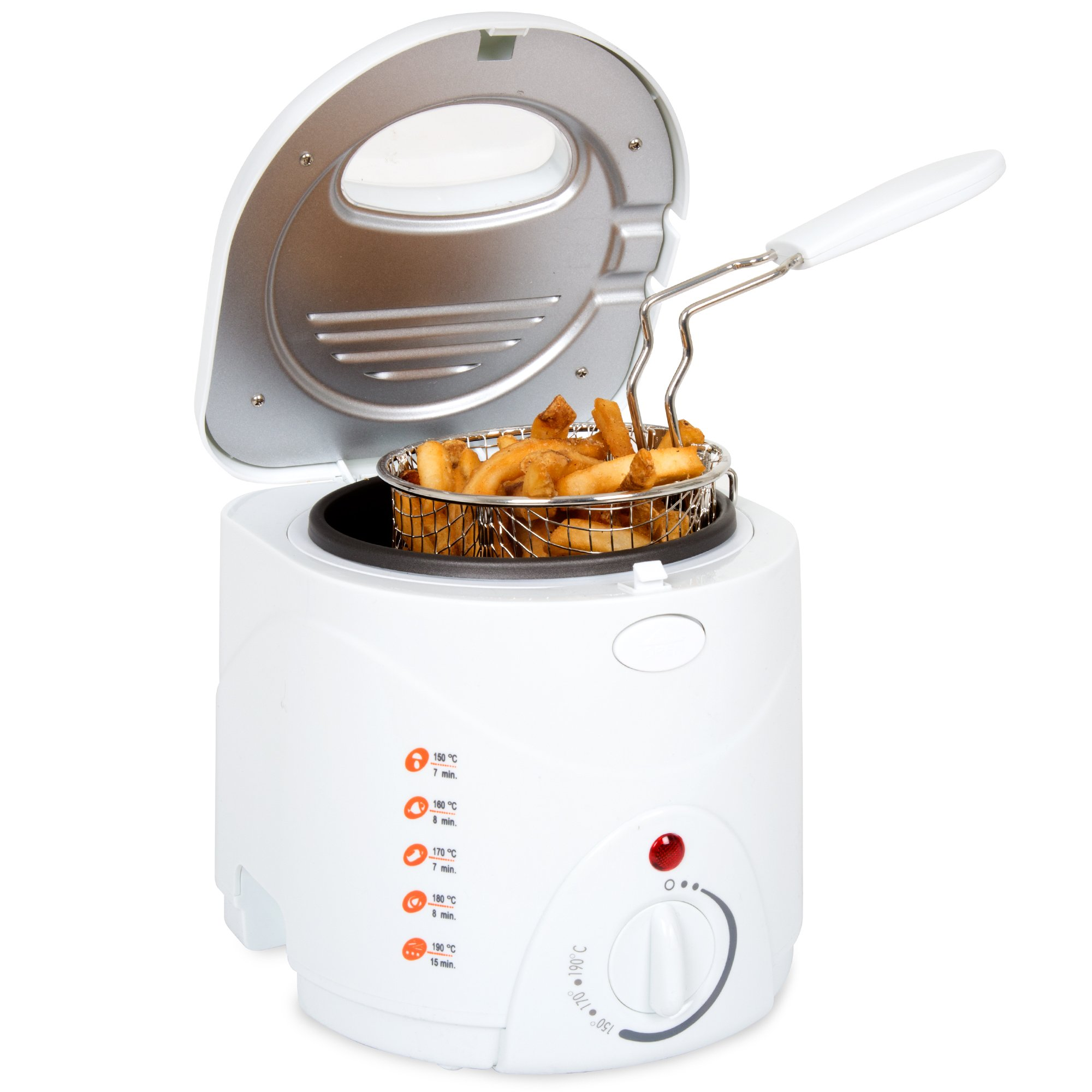 Classic Cuisine 82-HY8105 Cool Touch 1 L Deep Fryer with Wire Fry Basket, White