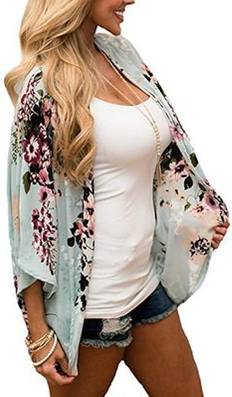 SmartRICH Womens Floral Print Sheer Chiffon Half Sleeve Casual Cardigan Beachwear Bikini Cover Kimono Coverup Tops