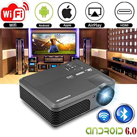 Wireless Projector WiFi Bluetooth 3600 Lumens (2018 Updated), Portable HD LED Projector 1080p Support, Digital Home Theater Cinema Projector Indoor ...