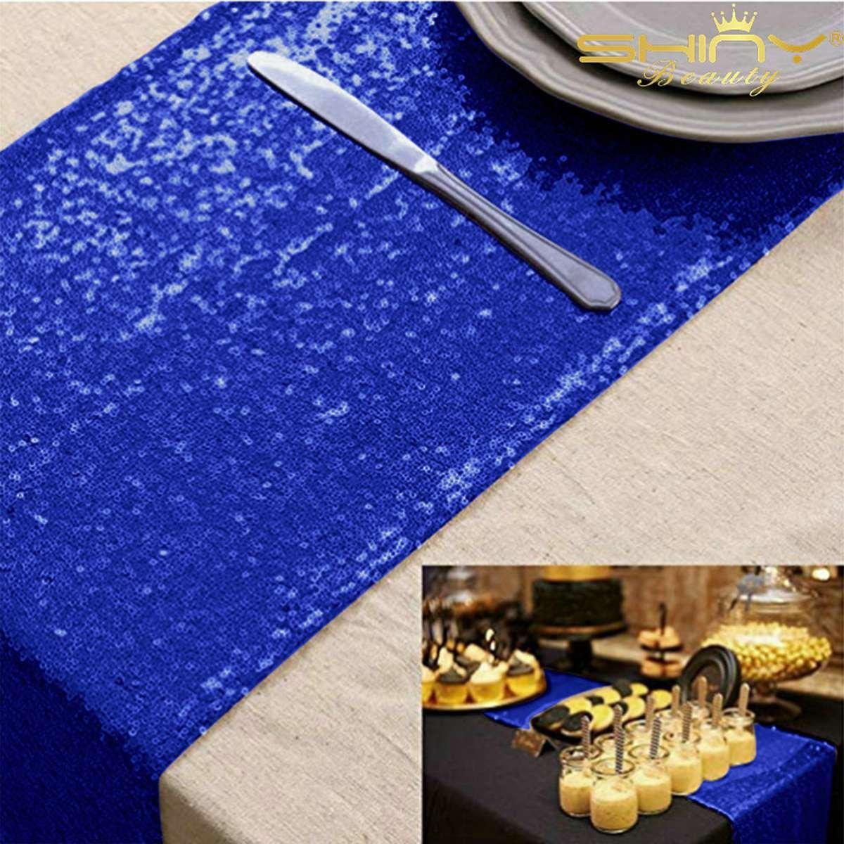 スパンコールテーブルランナー ゴールドテーブルランナー 10枚パック 16歳の誕生日パーティー用品 卒業パーティー用品 2019~M0104 12x72-Inch ブルー Sequeen Table Runnes 12x72-Inch ロイヤルブルー B07JFT67HD