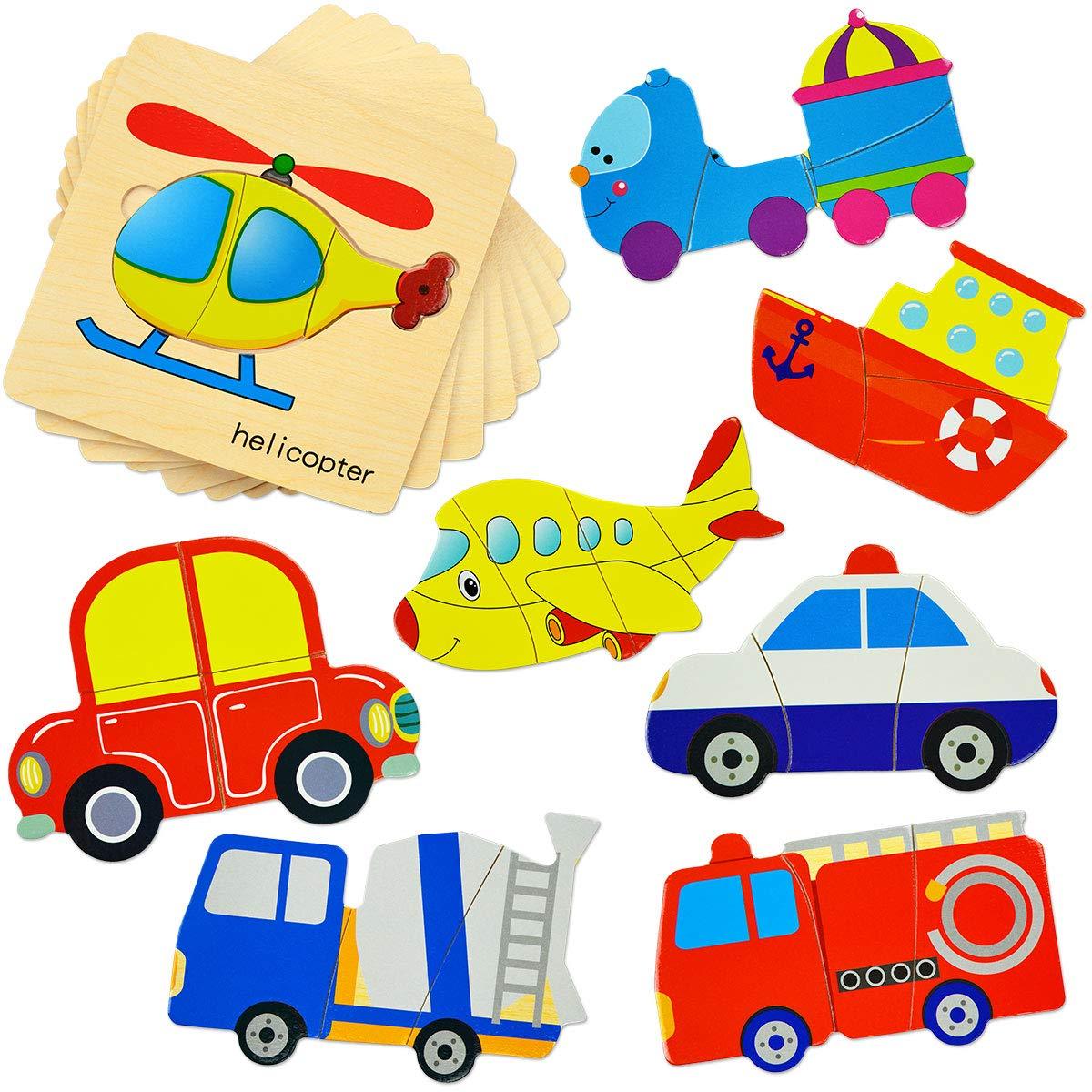 幼児用木製パズル 就学前用車両 初心者用パズルセット 子供用 形状 色学習 教育 3Dパズル おもちゃ (8パック)   B07R3YGSX5
