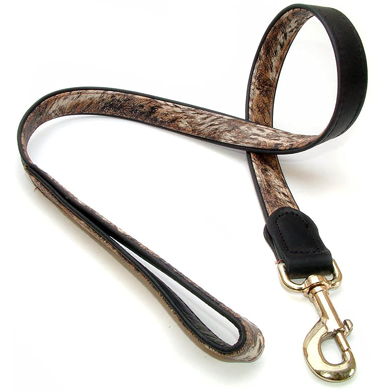 Brown Black 1in x 39in Brown Black 1in x 39in Vital Pet Products Faux Leather Dog Leash (1in x 39in) (Brown Black)