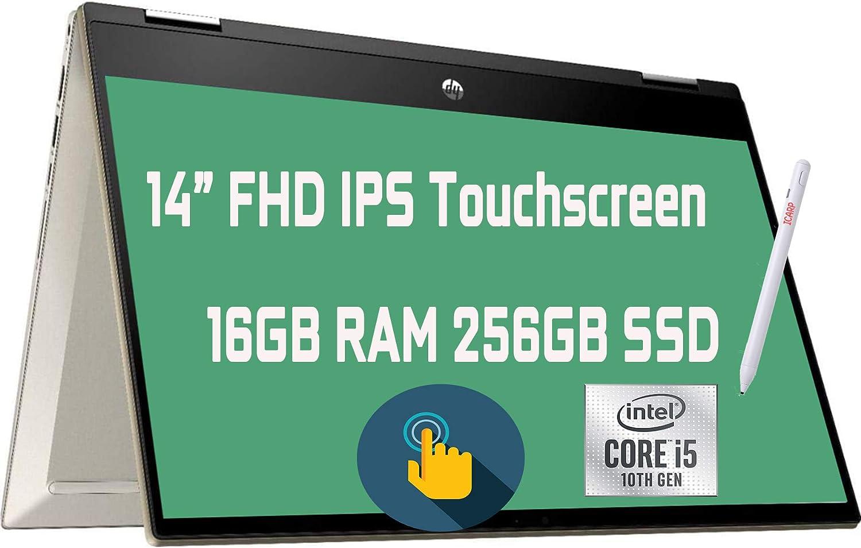 """2021 Flagship HP Pavilion x360 2 in 1 Laptop 14"""" Diagonal FHD IPS Touchscreen 10th Gen Intel 4-Core i5-1035G1 (Beats i7-8665U) 16GB RAM 256GB SSD Fingerprint USB-C Wifi6 B&O Win10 + iCarp Pen"""