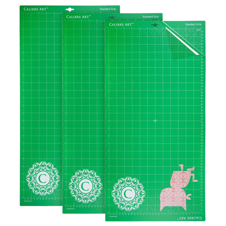 Calibre Art 12x24 Cricut Compatible Self Healing Cutting Mat (3 Pack) Standard Grip Adhesive | for Explorer Air/Air 2 / Maker | Standardgrip for Cardstock, Vinyl, Patterned Paper & More