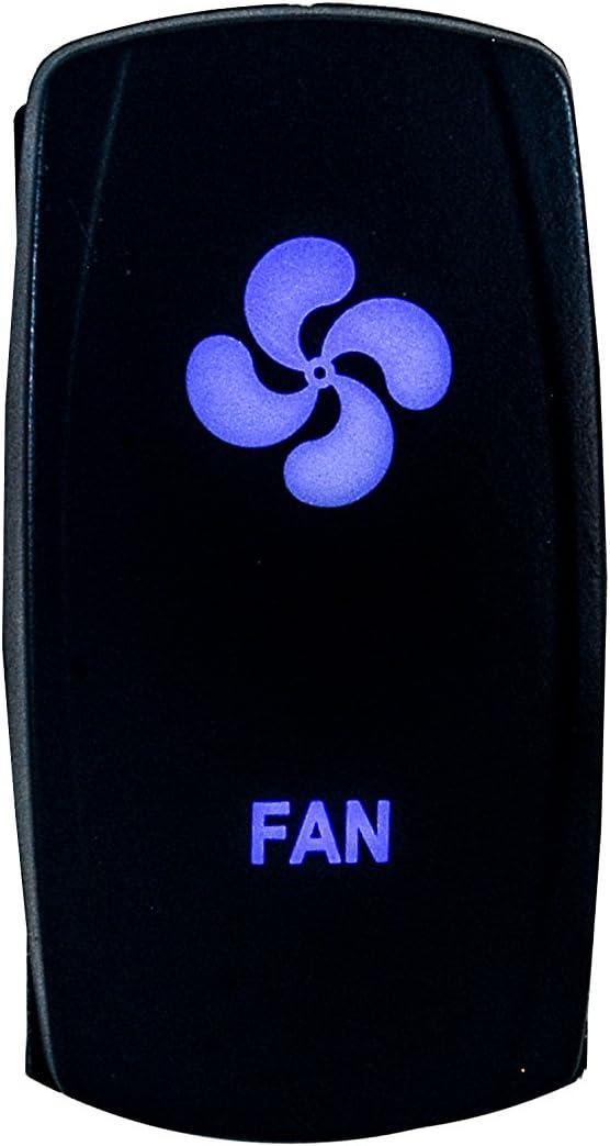 OZ-USA Fan Switch Laser Blue LED Rocker On/Off Switch UTV Truck Polaris RZR XP 900 800 Dash