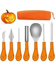 Fenvella Kit Intaglio Zucca Halloween, Strumenti Inossidabile Professionale per Intagliare Zucca, 7 Pezzi Set di Intaglio di Zucca per Adulti e Bambini