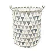 Songsongstore 19.7  Large Sized Waterproof Foldable Laundry Hamper Bucket,Dirty Clothes Laundry Basket, Bin Storage Organizer for Toy Collection(Triangle Pattern-Grey)