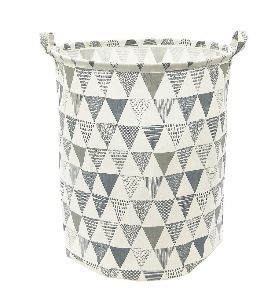Songsongstore 19.7'' Large Sized Waterproof Foldable Laundry Hamper Bucket,Dirty Clothes Laundry Basket, Bin Storage Organizer for Toy Collection(Triangle Pattern-Grey)