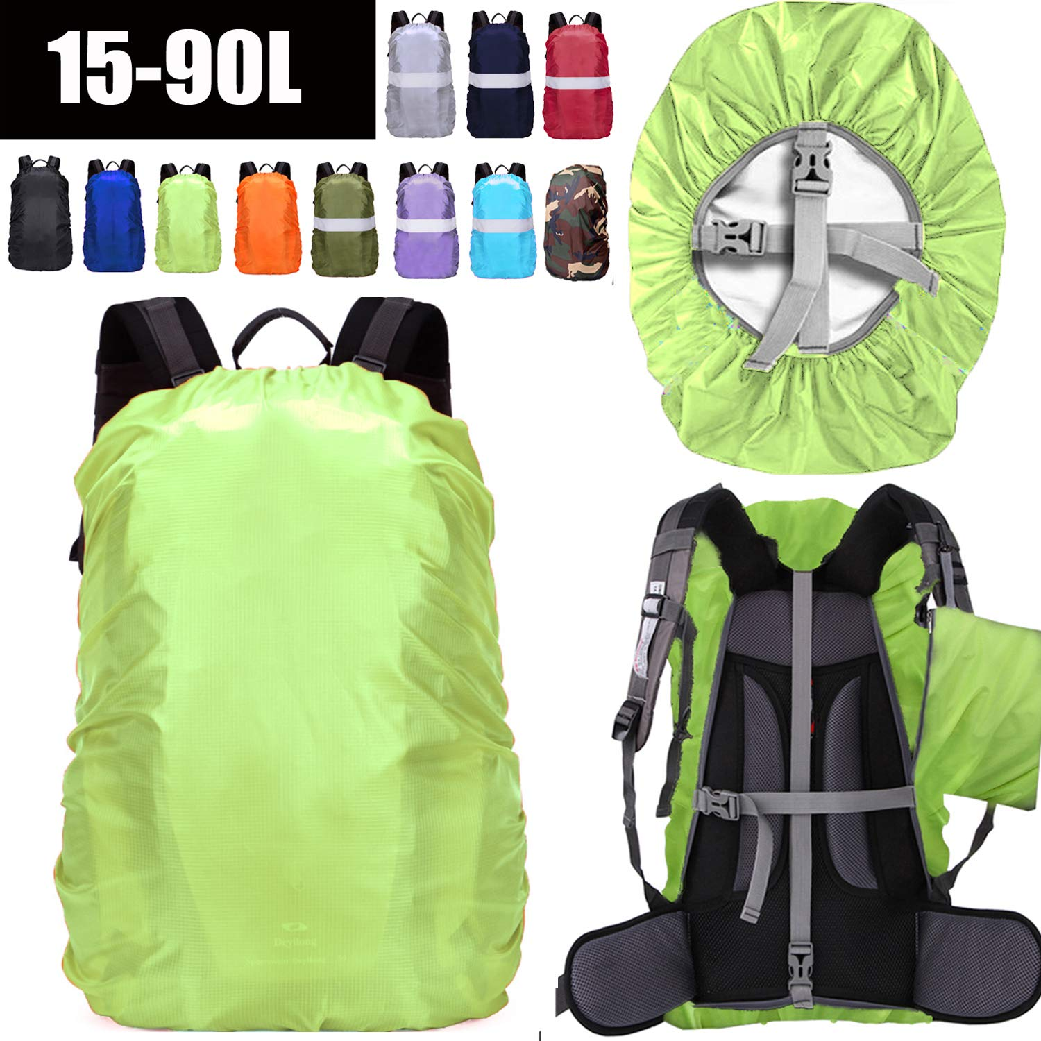 ZM-SPORTS 15-90L Upgraded Waterproof Backpack Rain Cover,with Vertical Adjustable Fixed Strap Avoid to Falling,Gift with Portable Storage Pack (Neon Green, XL(for 50-65L Backpack) by ZM-SPORTS