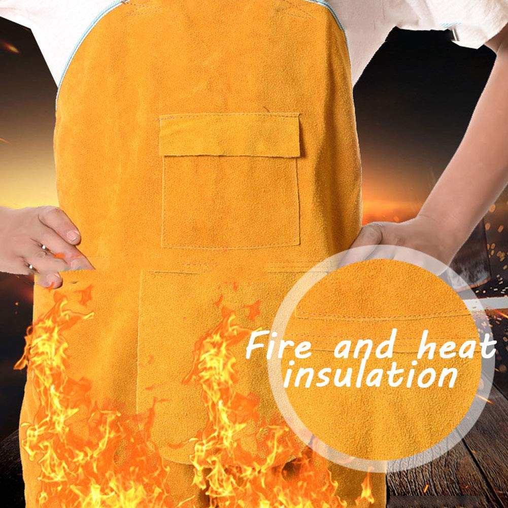 LAIABOR Welding Apron bib Jumpsuit Overalls Protective Foot Safety Apparel for Electrical Weld, Cutting, Casting, Lathe, Steel, Smelting Retardant wear Resistant,Yellow,XXL by LAIABOR (Image #5)