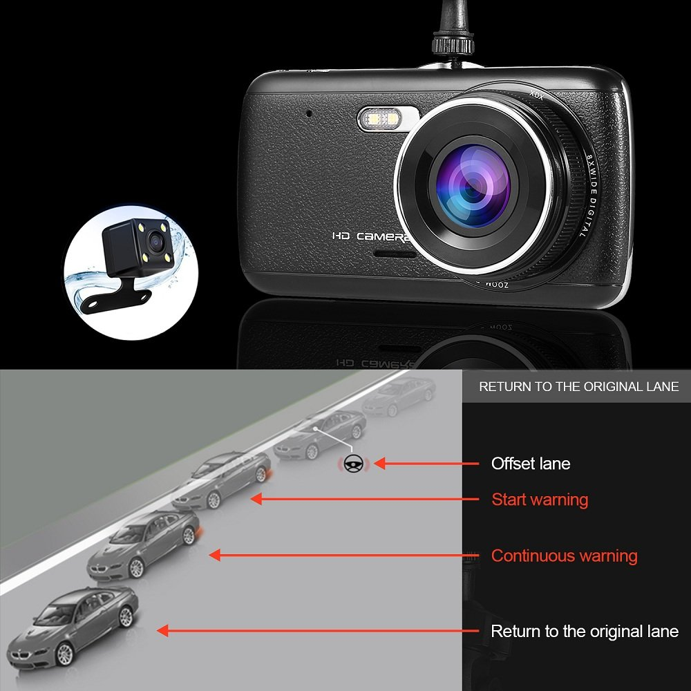 Cámara para Coche LESHP Dashcam Doble Cámaras Full HD 1080P 170°Lente Ultra Gran Angular 12MPX con G-Sensor, negro: Amazon.es: Electrónica