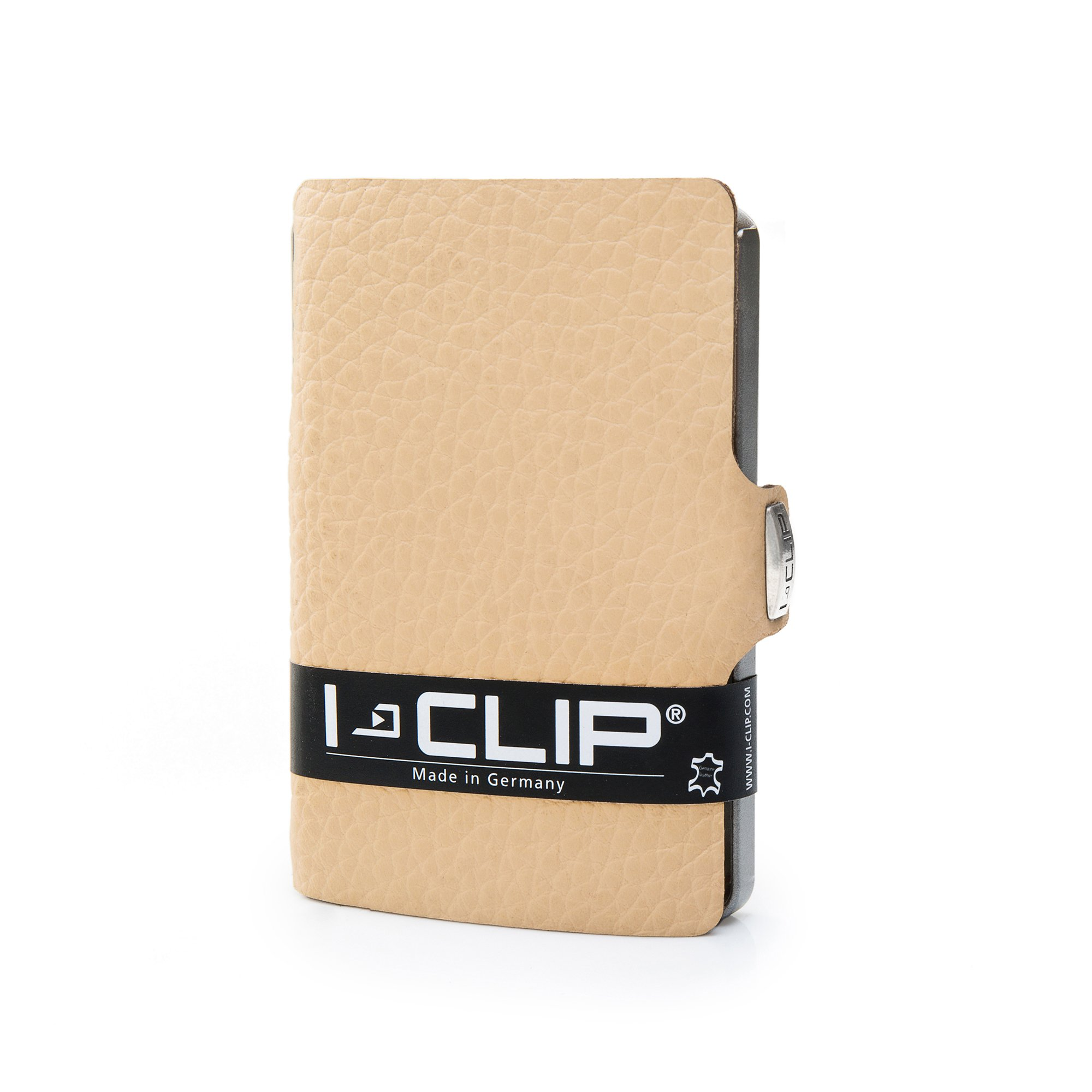 I-CLIP - Full Grain Leather (Cream) - Slim Wallet - Minimalist, Thin Design & Money Clip