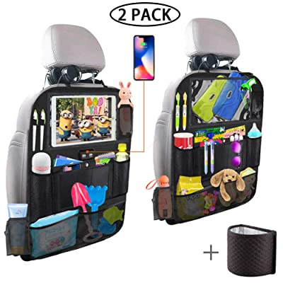 Backseat Car Organizer with 4 USB Charging Port, 11'' Touch Screen Tablet Holder, Seat Back Protectors Kick Mats for Toy Bottle Book Drink, Universal Fit Travel Accessories for Kid & Toddlers (2 Pack): Automotive